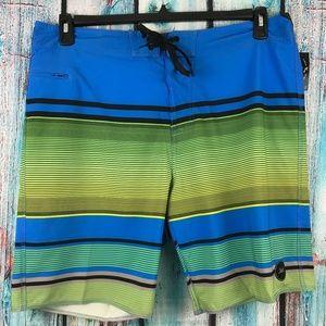 Lost Men's Rally Green Striped Zip Side Pocket